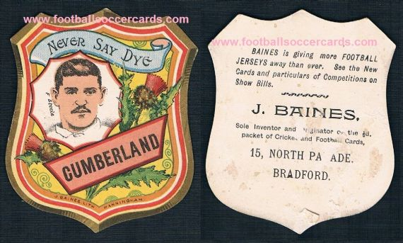 1890s Millom ? F. Steele for Cumberland noted rugby player very rare Baines card